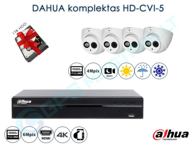Vaizdo kamerų komplektas HD-CVI 5