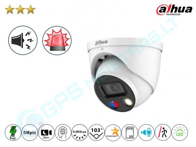 Kupolinė 5MP IP kamera 3549D su LED, sirena ir švyturėliais