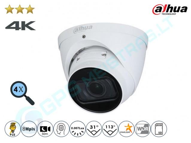 Kupolinė IP kamera 8Mpix raiška, zoom 4x, 3841DZ