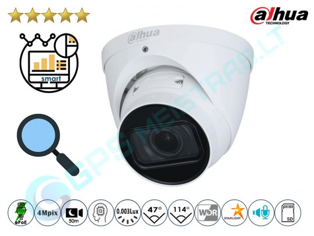 Kupolinė IP kamera 4Mpix raiška, zoom 4x, Pro AI, 5442DZ