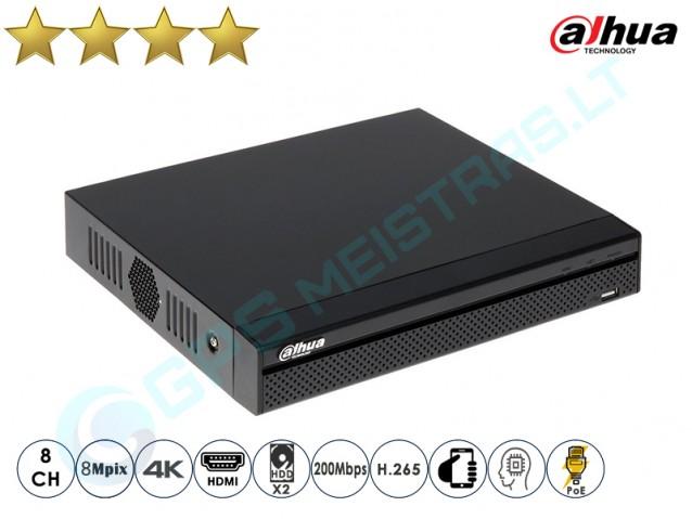 Dahua IP NVR įrašymo įrenginys 4208 PoE 4K