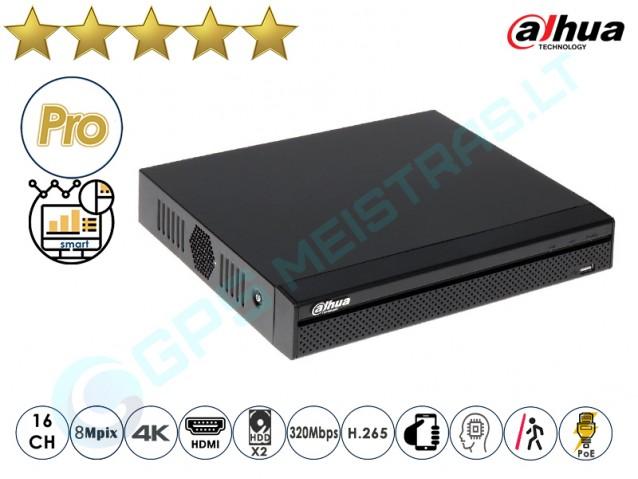 Dahua IP NVR įrašymo įrenginys 5216 PoE 4K AI (16PoE)