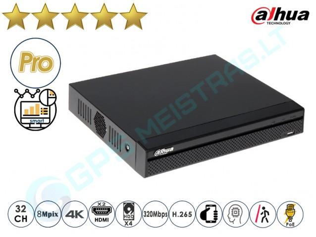 Dahua IP NVR įrašymo įrenginys 5432 PoE 4K AI