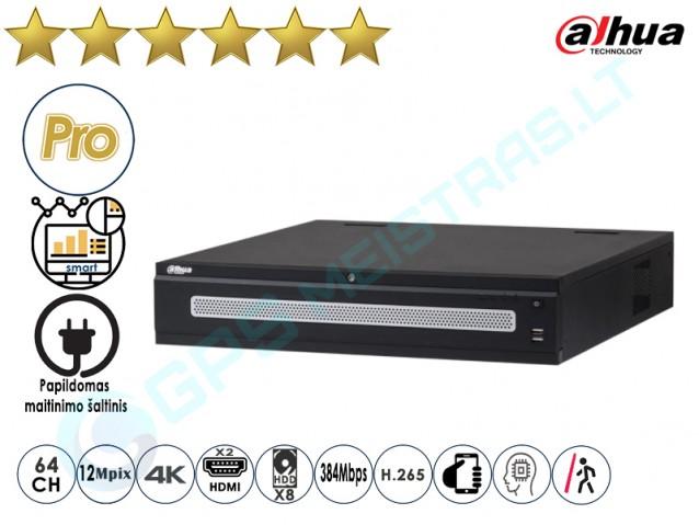 Dahua IP NVR įrašymo įrenginys 608R 64 4K Dvigubas maitinimas