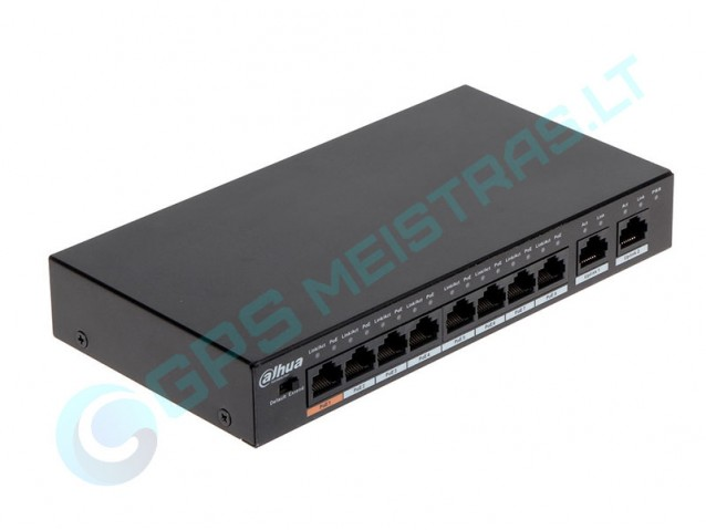 Dahua UTP tinklo šakotuvas 8 prievadų. 8PoE, PoE+, 2UpLink