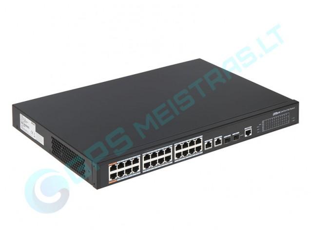 Dahua UTP tinklo šakotuvas 24 prievadų. PoE 48V. Hi-PoE. PoE+
