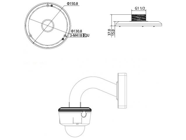 Vaizdo kameros laikiklis, 150,8 x 37 mm, PFA100