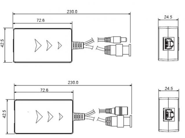 Pasyvinis vaizdo signalo siųstuvas su maitinimu, PFM801